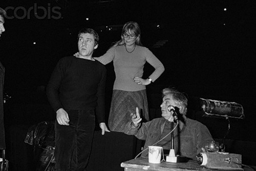 Russian Actor and Singer Vladimir Vysotsky at a rehearsal of Shakespeare's Hamlet with Russian stage director Yuri Lyubimov and Vysotsky's wife, French actress Marina Vlady, at the Palais de Chaillot Theater in Paris