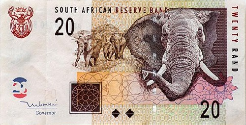 A 20 rand note from South Africa. Each in this series of banknotes features a different animal from the 'big five'
