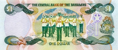 A Bahamian one dollar note, showing the Royal Bahamas police force band
