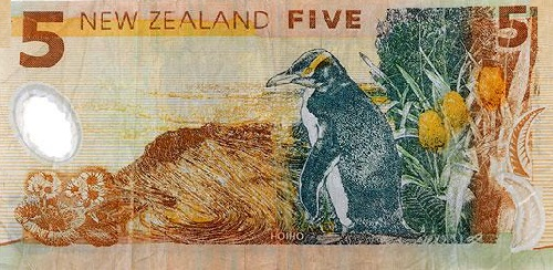 A New Zealand note for five dollars, depicting New Zealand's native hoiho, or yellow-eyed penguin