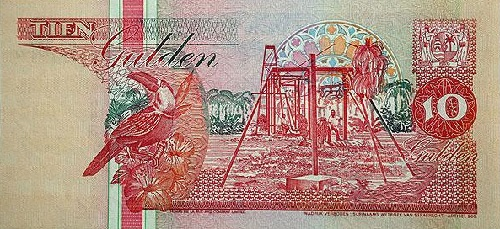 A Surinamese ten dollar note. The dollar replaced the Surinamese guilder in January 2004
