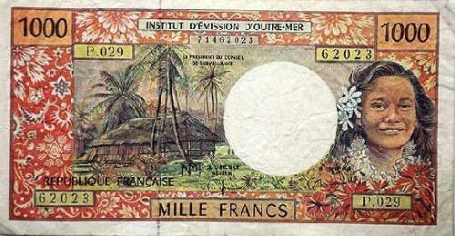 A colorful, floral 1000 note from French Polynesia, where the currency is the CPF franc