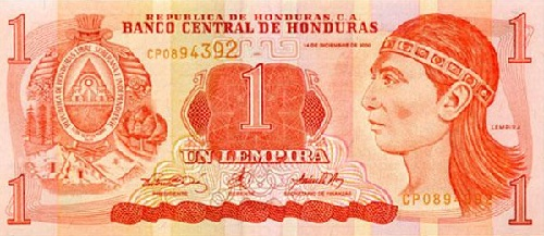 A one lempira note from Honduras. The lempira was introduced in 1931, and is named after a 16th century ruler who led resistance against Spanish conquistadors