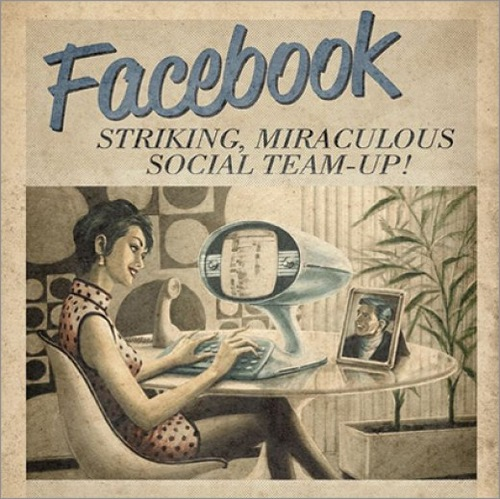 Vintage futurism of retro inspired ads. Facebook - striking, miraculous social team-up