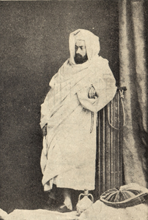 Miklouho-Maclay while traveling on the Red Sea in the Arab burnoose. 1869