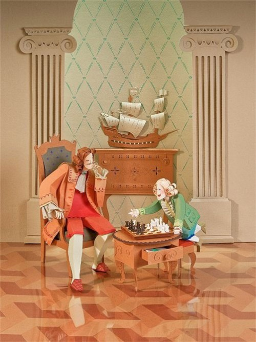 chess playing, somewhere in the 18 century. Paper art by Siberian artists Alexei Lyapunov and Lena Erlikh, Novosibirsk