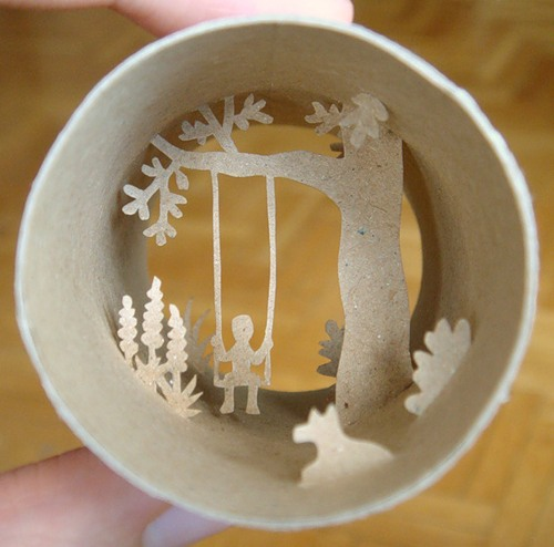 Paper world inside a toilet paper roll, work of French artist Anastassia Elias