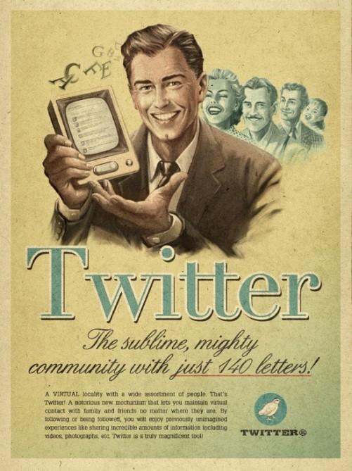 Twitter, Vintage futurism of retro inspired ads