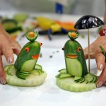 Two frogs made from cucumbers and carrots are presented on September 5, 2011 during the first European vegetable carving competition in Leipzig, eastern Germany.