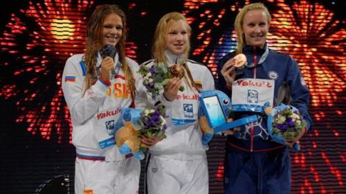 Yulia Yefimova, Ruta Meilutyte and Jessica Hardy