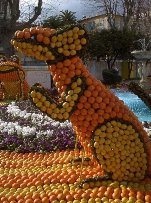 Traditional citrus fruit carnival in Menton, France