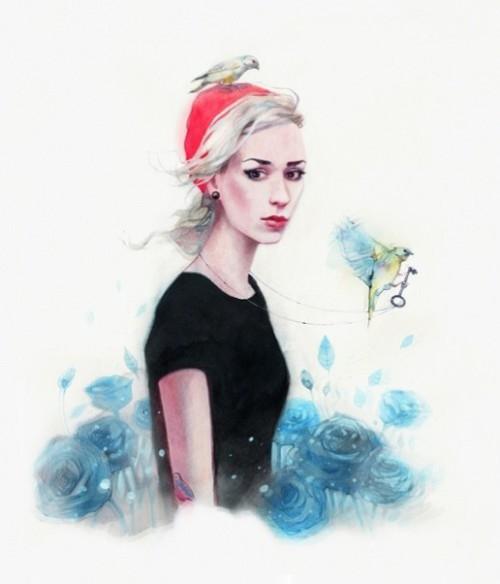 Maria Kuzmenkova, beautiful Russian photographer. Watercolors by artist Rebus
