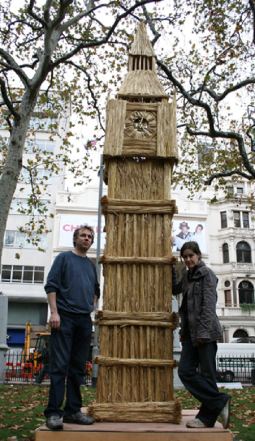 5 metre tall sculpture of the Houses of Parliament's famous clock tower by Shredded Wheat
