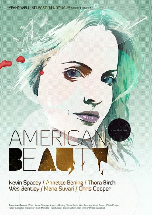 American beauty. Movie posters by Polish illustrator