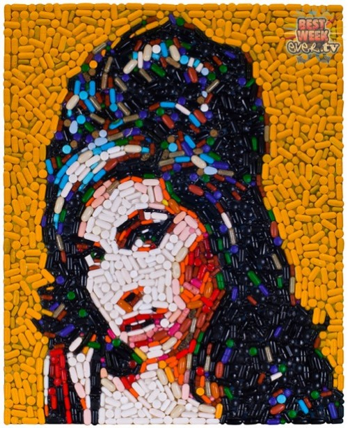 Amy Winehouse Mosaic portrait out of pills by American artist Jason Mecier mosaic