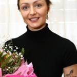 With bouquet of flowers, Anastasia Davydova