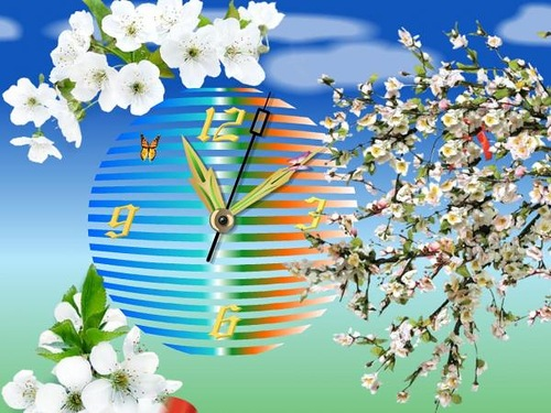 Apple blossom clock. Lost time is never found again