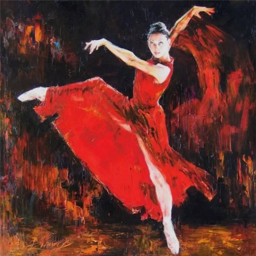 Ballerina in red, painting by Russian realist artist Anna Vinogradova