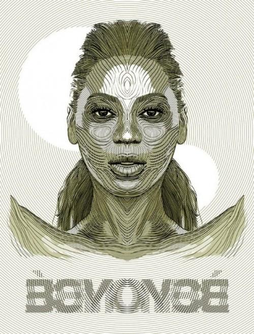 Beyonce. Illustration by Italian artist Alberto Russo