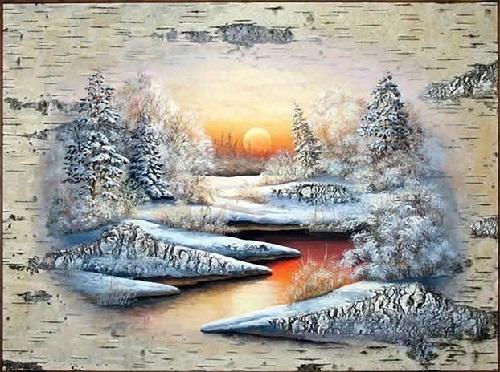 Birch bark painting by Russian artist of applied art Vladimir Makhnyuk