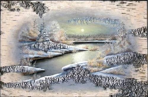 Birch bark artwork by Vladimir Mahnyuk