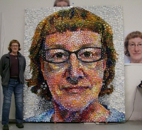 Bottle caps mosaic portrait by Mary Ellen Croteau