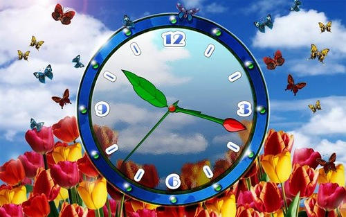 Butterfly clock. Lost time is never found again