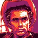 Cowboy James Dean, cultural icon of 1950s. Celebrity portraits by American vector artist Mel Marcelo