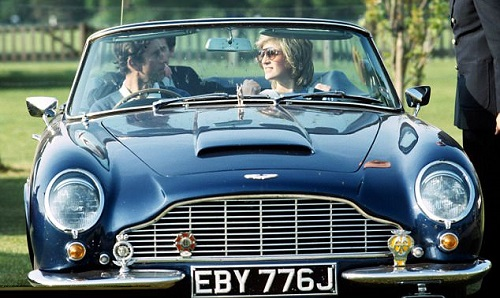 Charles and Diana in the Aston in 1984
