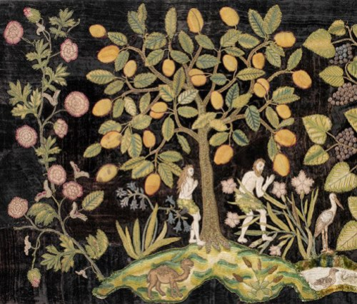 Garden of Eden, last quarter of 16th century. England. Antique European embroidery