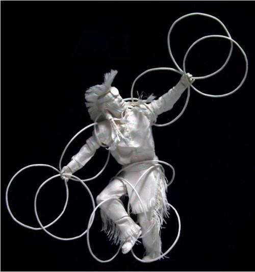 Hoop Dancer Dancing Eagle. Paper Sculpture by American artists Allen and Patty Eckman
