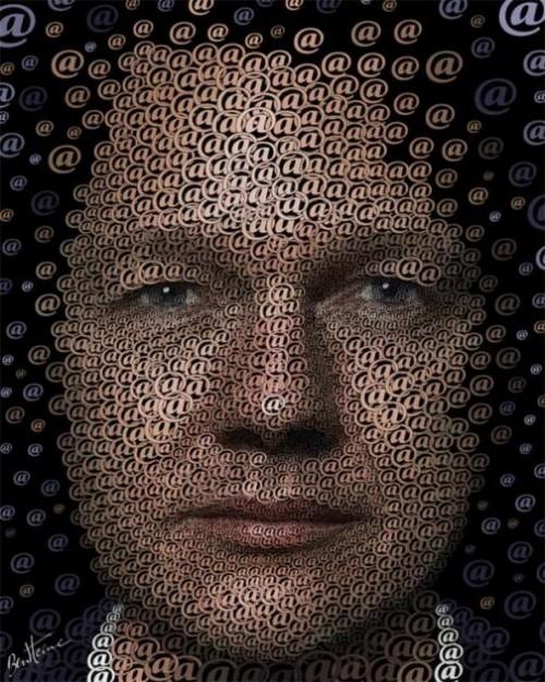 Julian Assange. Digital Art by Ben Heine