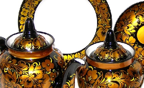 Khokhloma painting. Tea set 'Russian' (porcelain, metal)