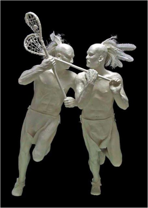 Lacrosse Brothers. Paper Sculpture by American artists Allen and Patty Eckman