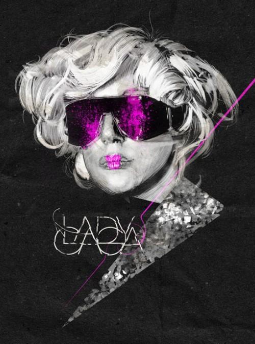 Lady Gaga. Illustration by Italian artist Alberto Russo