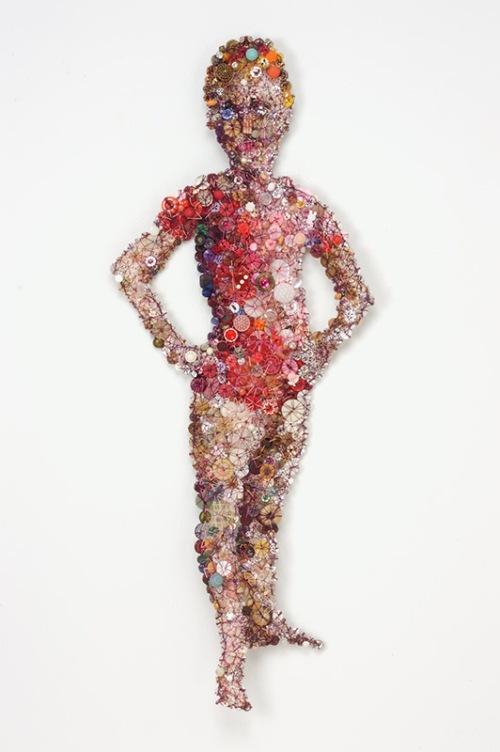Leotard. Artwork of buttons by Lisa Kokin