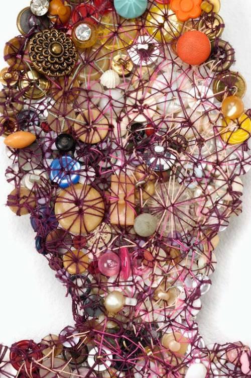 Leotard (detail). Artwork of buttons by Lisa Kokin