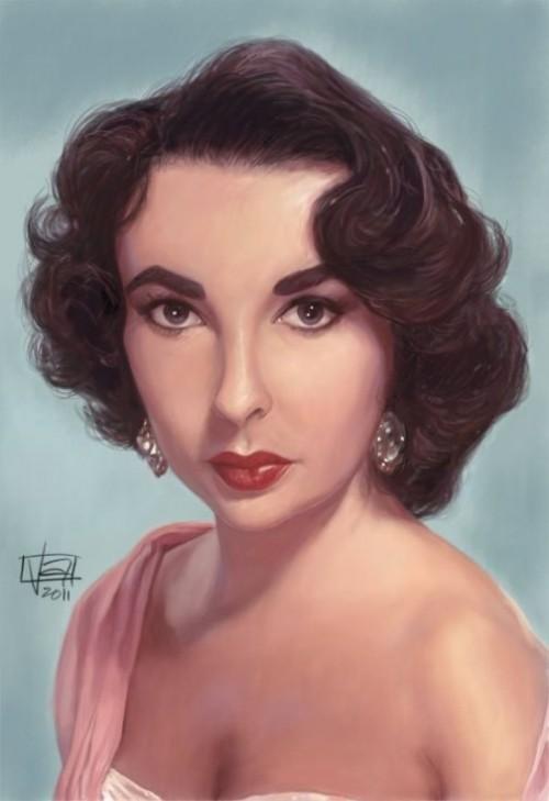 Liz Taylor. Caricature Portraits by Vincent Altamore