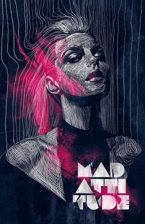 Mad Attitude. illustration for Mad Attitude event at Mad Club - Lausanne. Pencil (negative drawing process) and digital. Italian artist Alberto Russo
