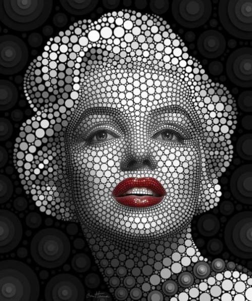 Marilyn Monroe. Digital Pointillism by Belgian artist Ben Heine