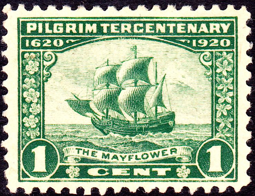 Thanksgiving and the pilgrims. Mayflower 1920 Issue 1cent