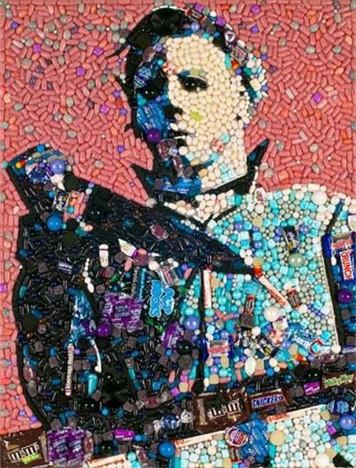 Michael Myers made out of Halloween candy. Mosaic portrait by American artist Jason Mecier