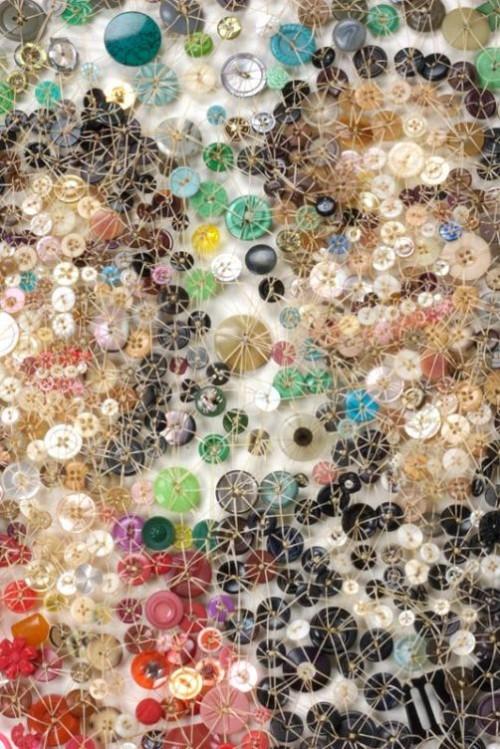 Moment (detail). Artwork of buttons by Lisa Kokin