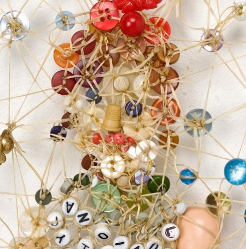 Most Likely to Recede (detail). Artwork of buttons by Lisa Kokin
