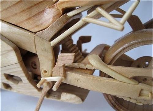 Wooden Mini Motorcycles by Ukrainian craftsman Vyacheslav Voronovich