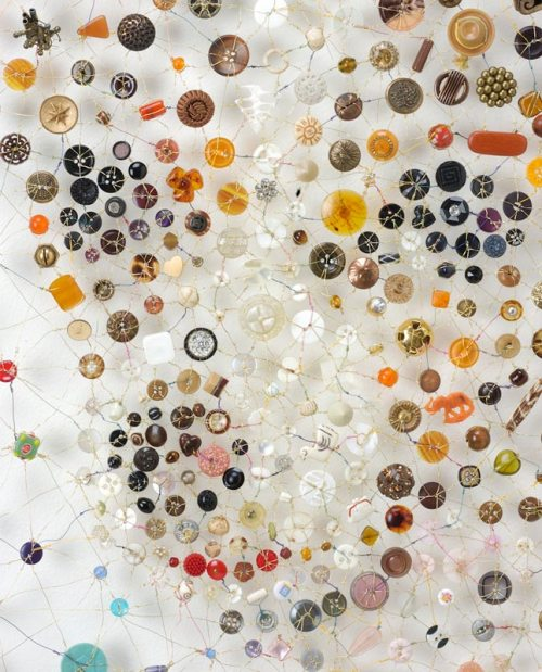 Muse (detail). Artwork of buttons by Lisa Kokin