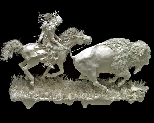 One More Bull. Paper Sculpture by American artists Allen and Patty Eckman