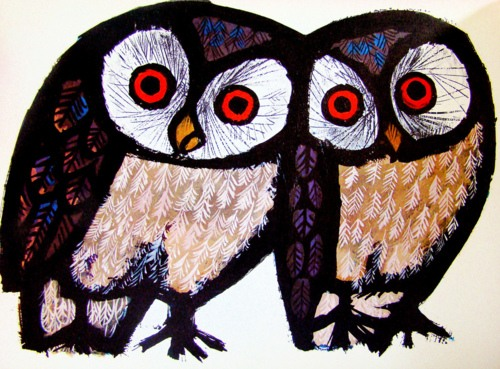 Owl by Swiss graphic artist, painter and book designer