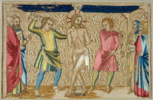 Panel from an Altar Frontal - The Flagellation, mid–14th century. Made in Florence, Italy