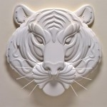 A tiger. Paper sculptures by American artist Jeff Nishinaka